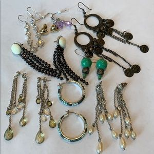 9 pair bundle lot dangle hoop faux pearl
